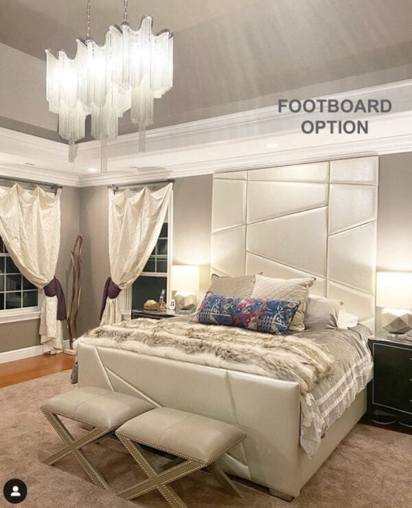 Louie with Footboard, a Custom Upholstered Bed designed for a custom luxury bed and elaborate bedroom