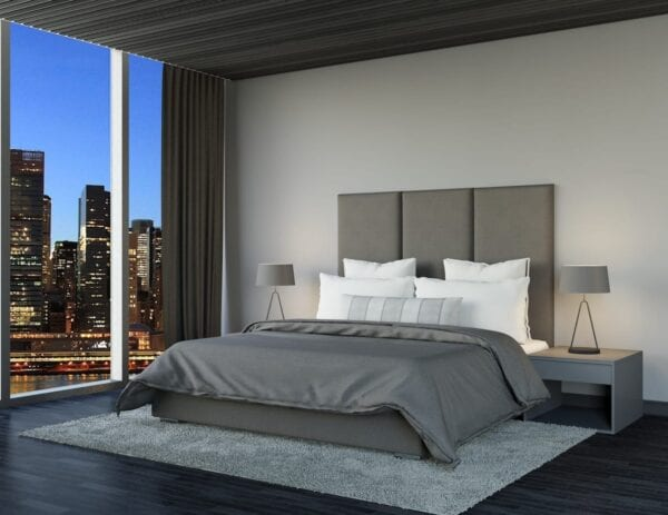 Alloy - Wall mounted upholstered, luxury headboard with custom upholstered wall panels - Custom luxury, upholstered beds with high end, bedroom textiles   Blend Home Furnishings