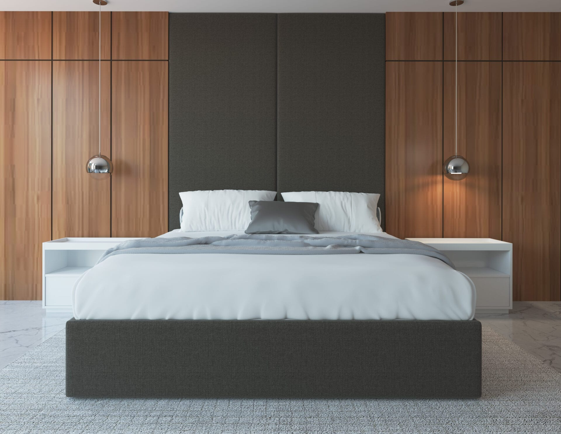 custom upholstered bed and mounted headboard