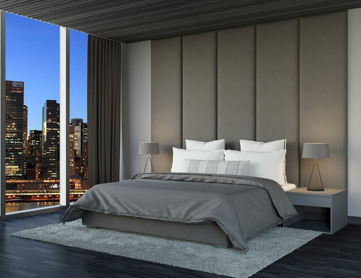 Alto - Wall mounted upholstered, luxury headboard with custom upholstered wall panels - Custom luxury, upholstered beds with high end, bedroom textiles | Blend Home Furnishings