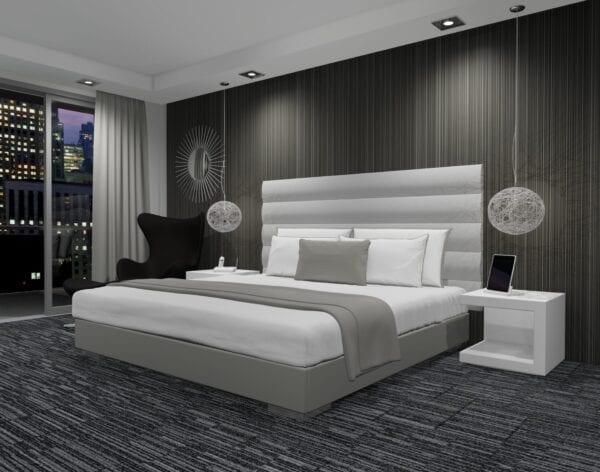 Amitis - Wall mounted upholstered, luxury headboard with custom upholstered wall panels - Custom luxury, upholstered beds with high end, bedroom textiles | Blend Home Furnishings