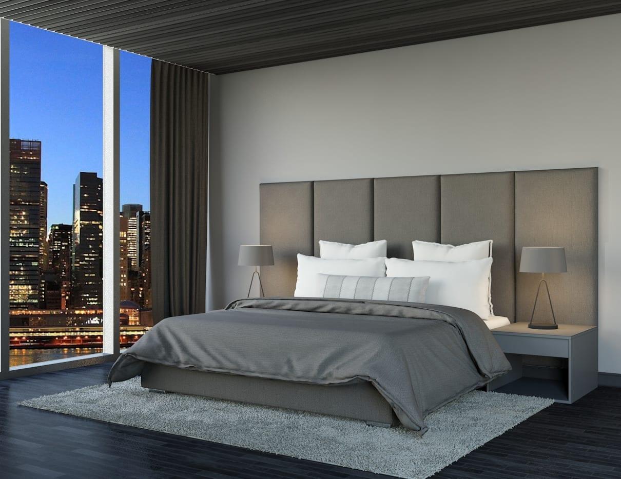 Amsterdam - Wall mounted upholstered, luxury headboard with custom upholstered wall panels - Custom luxury, upholstered beds with high end, bedroom textiles | Blend Home Furnishings