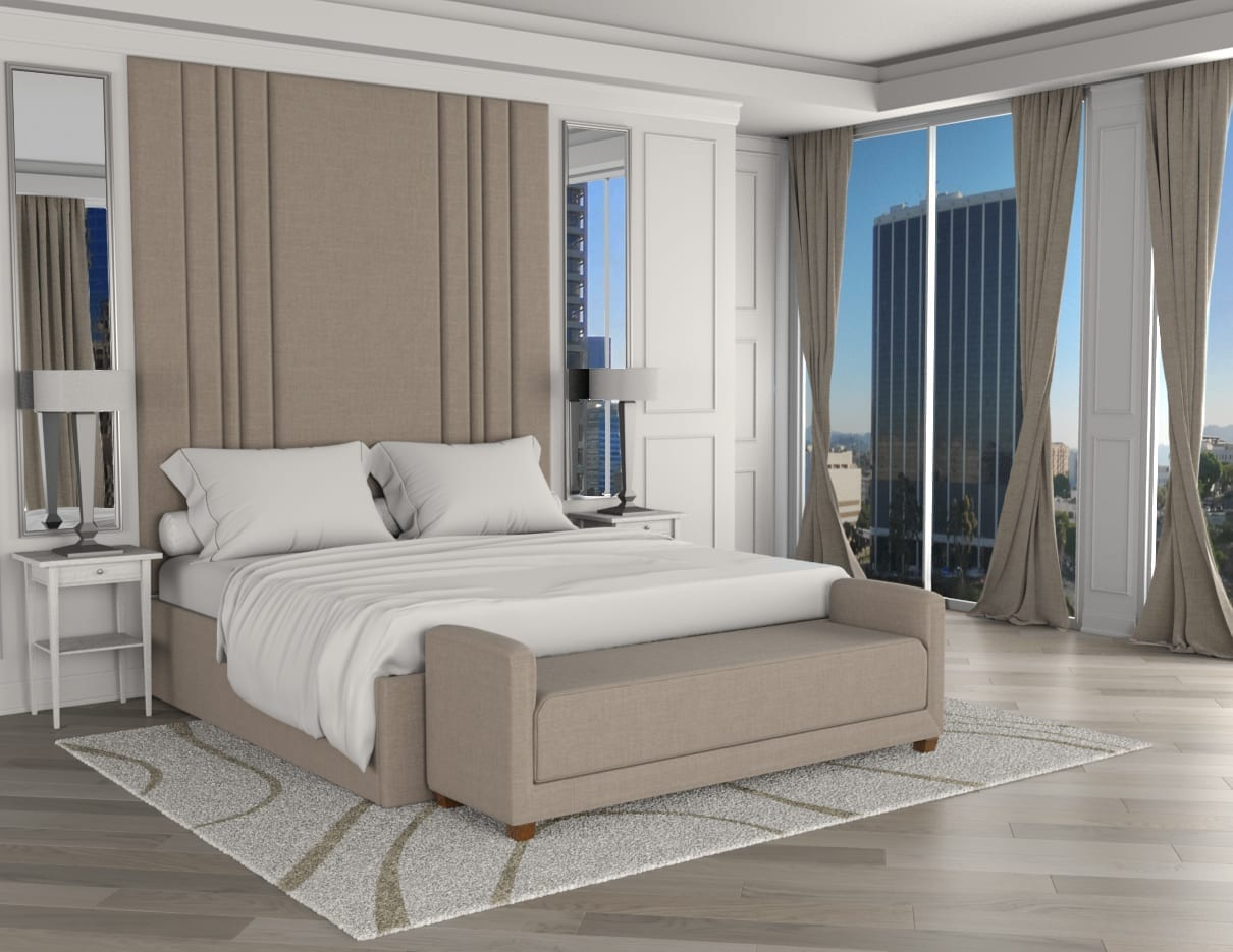 Ariana - Wall mounted upholstered, luxury headboard with custom upholstered wall panels - Custom luxury, upholstered beds with high end, bedroom textiles | Blend Home Furnishings