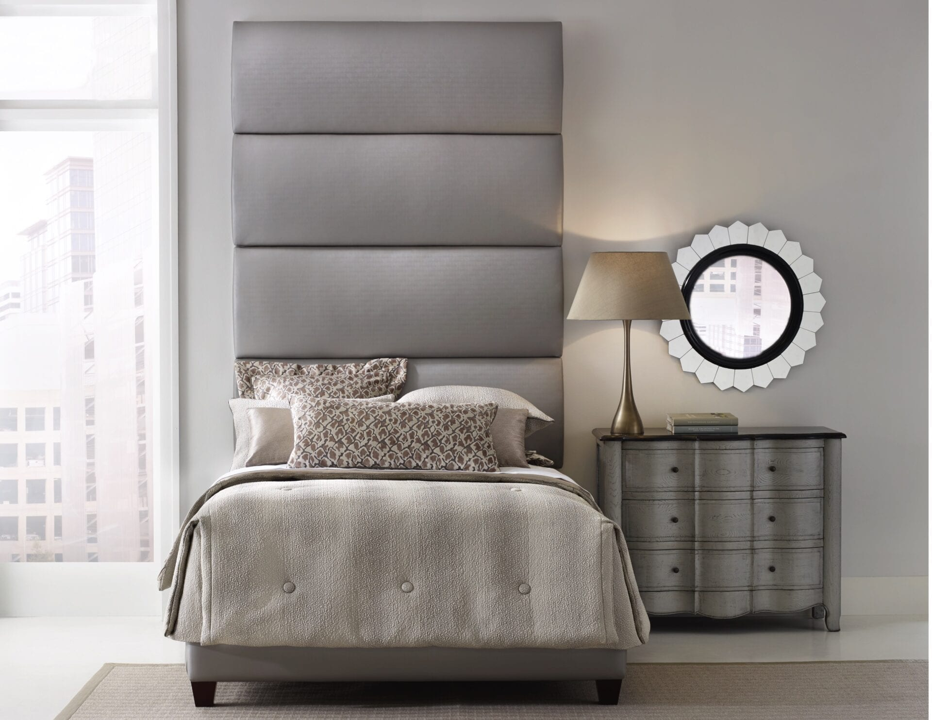 Arpel - Wall mounted upholstered, luxury headboard with custom upholstered wall panels - Custom luxury, upholstered beds with high end, bedroom textiles | Blend Home Furnishings