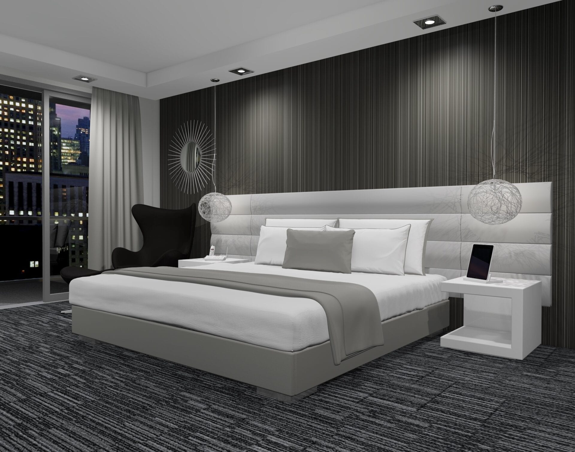 Astoria - Wall mounted upholstered, luxury headboard with custom upholstered wall panels - Custom luxury, upholstered beds with high end, bedroom textiles | Blend Home Furnishings