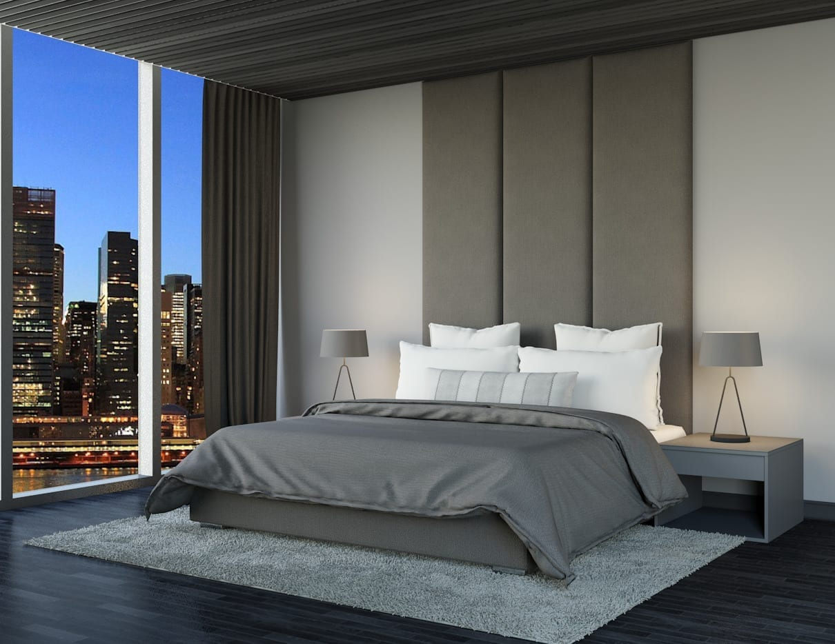Atlas - Wall mounted upholstered, luxury headboard with custom upholstered wall panels - Custom luxury, upholstered beds with high end, bedroom textiles | Blend Home Furnishings