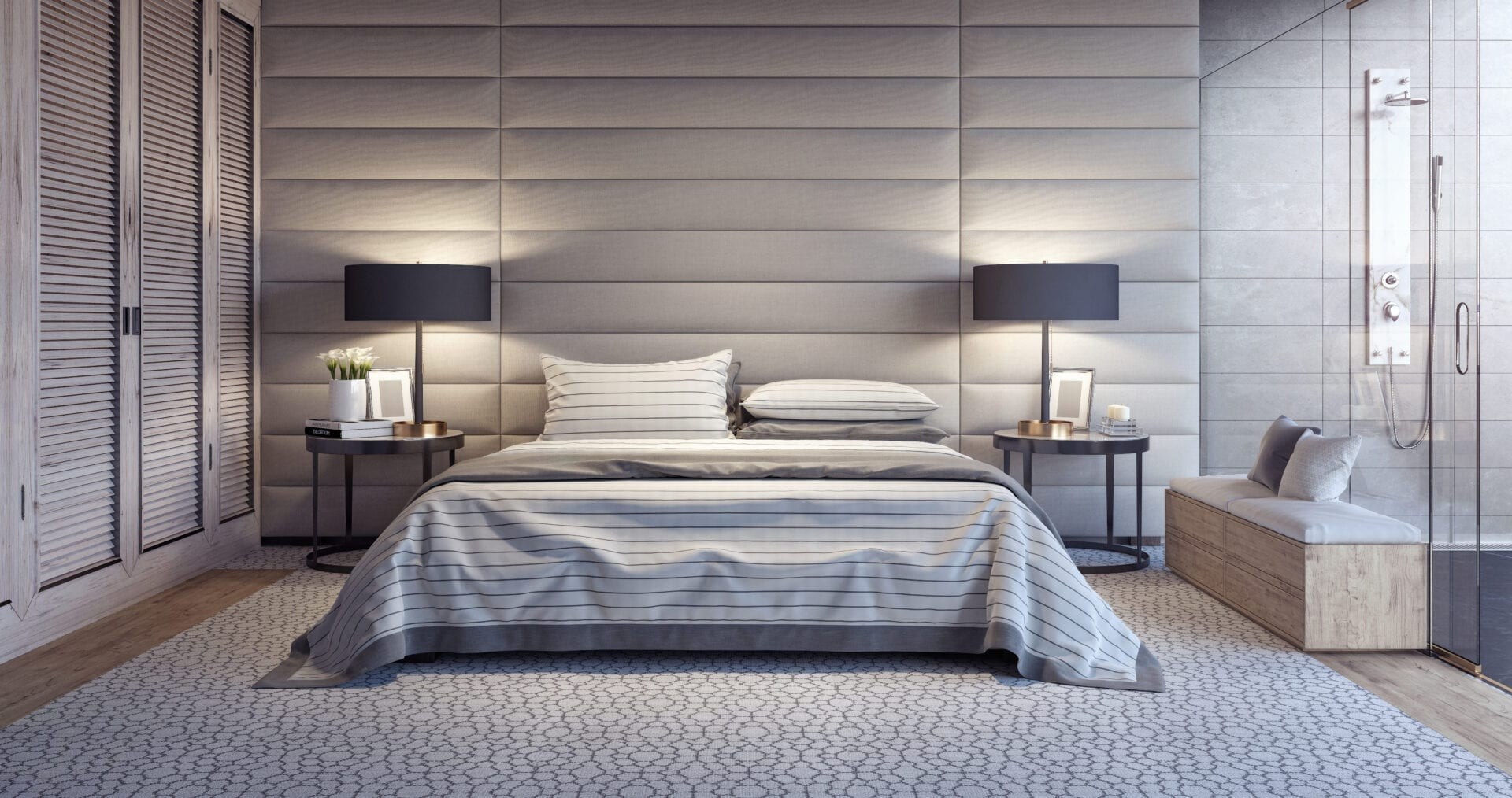 Azzaro - Wall mounted upholstered, luxury headboard with custom upholstered wall panels - Custom luxury, upholstered beds with high end, bedroom textiles | Blend Home Furnishings
