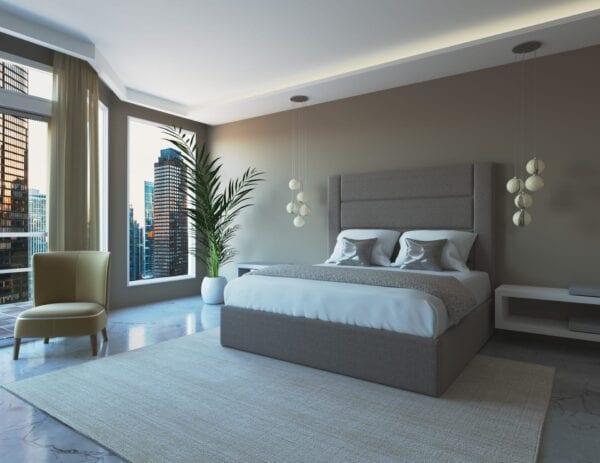 Berwick - Wall mounted upholstered, luxury headboard with custom upholstered wall panels - Custom luxury, upholstered beds with high end, bedroom textiles   Blend Home Furnishings