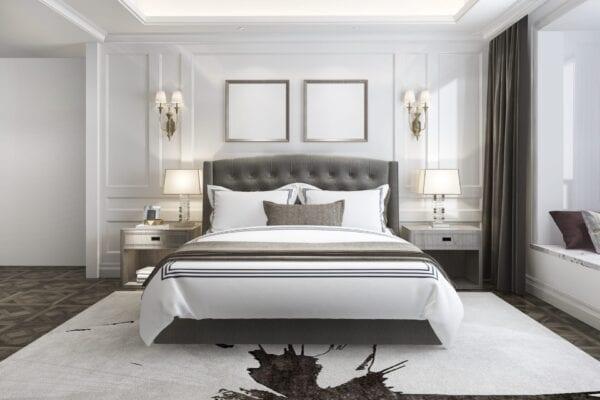 Bonita Bay - Wall mounted upholstered, luxury headboard with custom upholstered wall panels - Custom luxury, upholstered beds with high end, bedroom textiles   Blend Home Furnishings