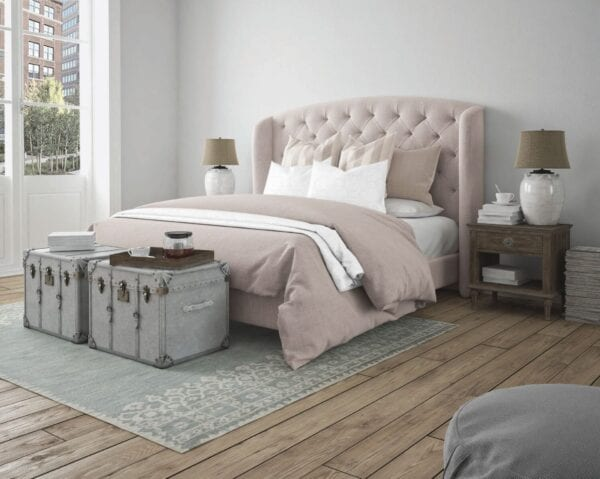 Modern Interior - Wall mounted upholstered, luxury headboard with custom upholstered wall panels - Custom luxury, upholstered beds with high end, bedroom textiles   Blend Home Furnishings