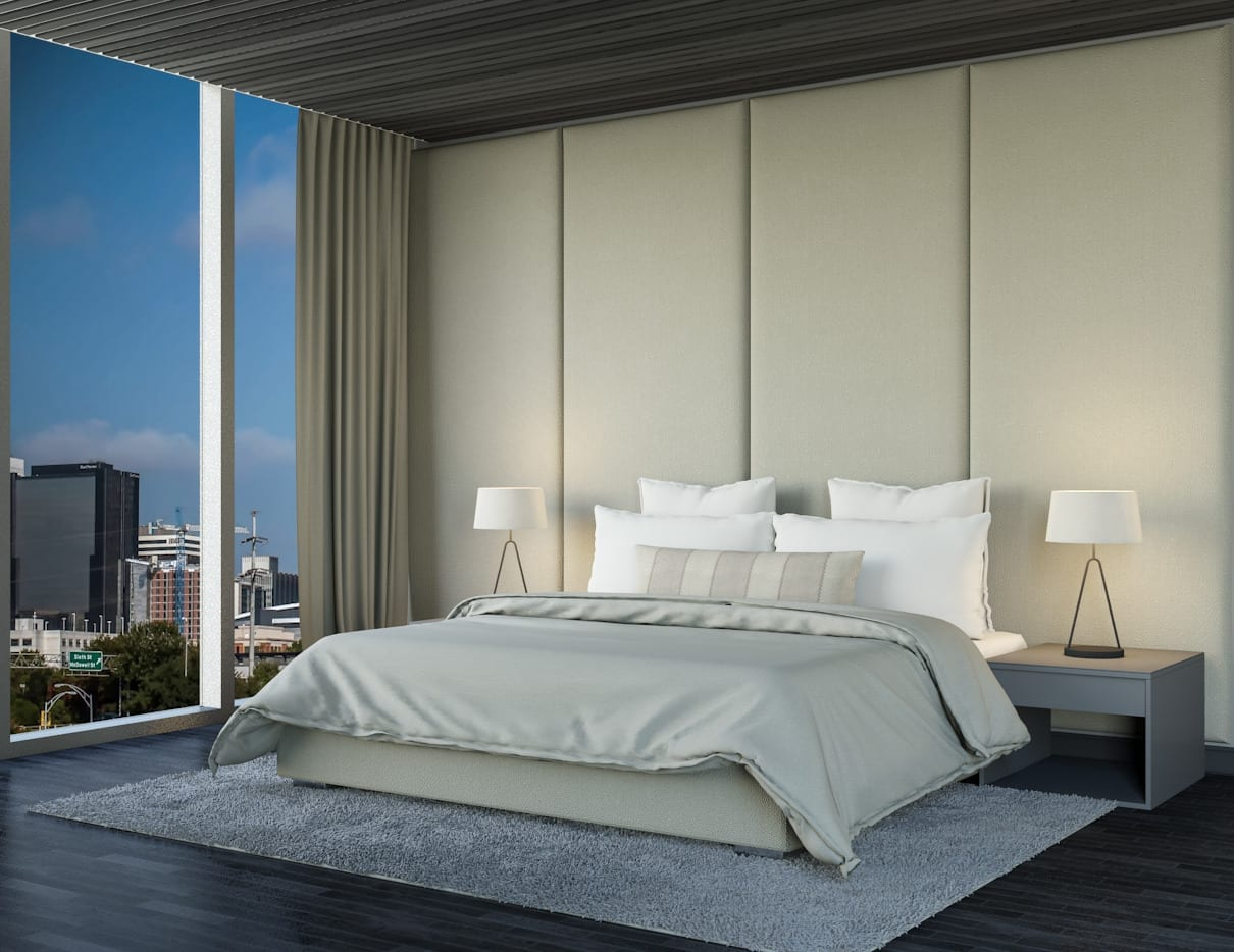 Boston - Wall mounted upholstered, luxury headboard with custom upholstered wall panels - Custom luxury, upholstered beds with high end, bedroom textiles   Blend Home Furnishings