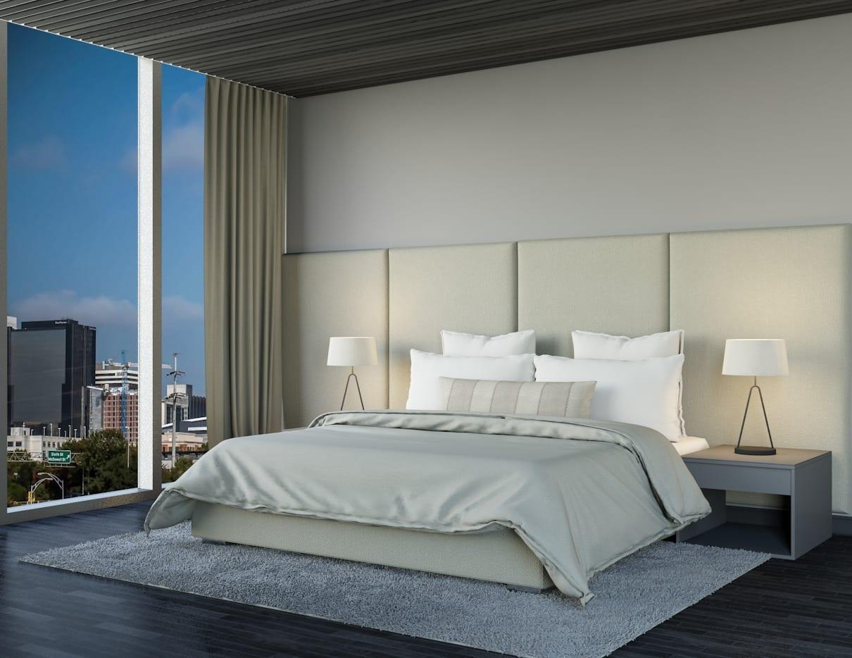Brooklyn - Wall mounted upholstered, luxury headboard with custom upholstered wall panels - Custom luxury, upholstered beds with high end, bedroom textiles   Blend Home Furnishings