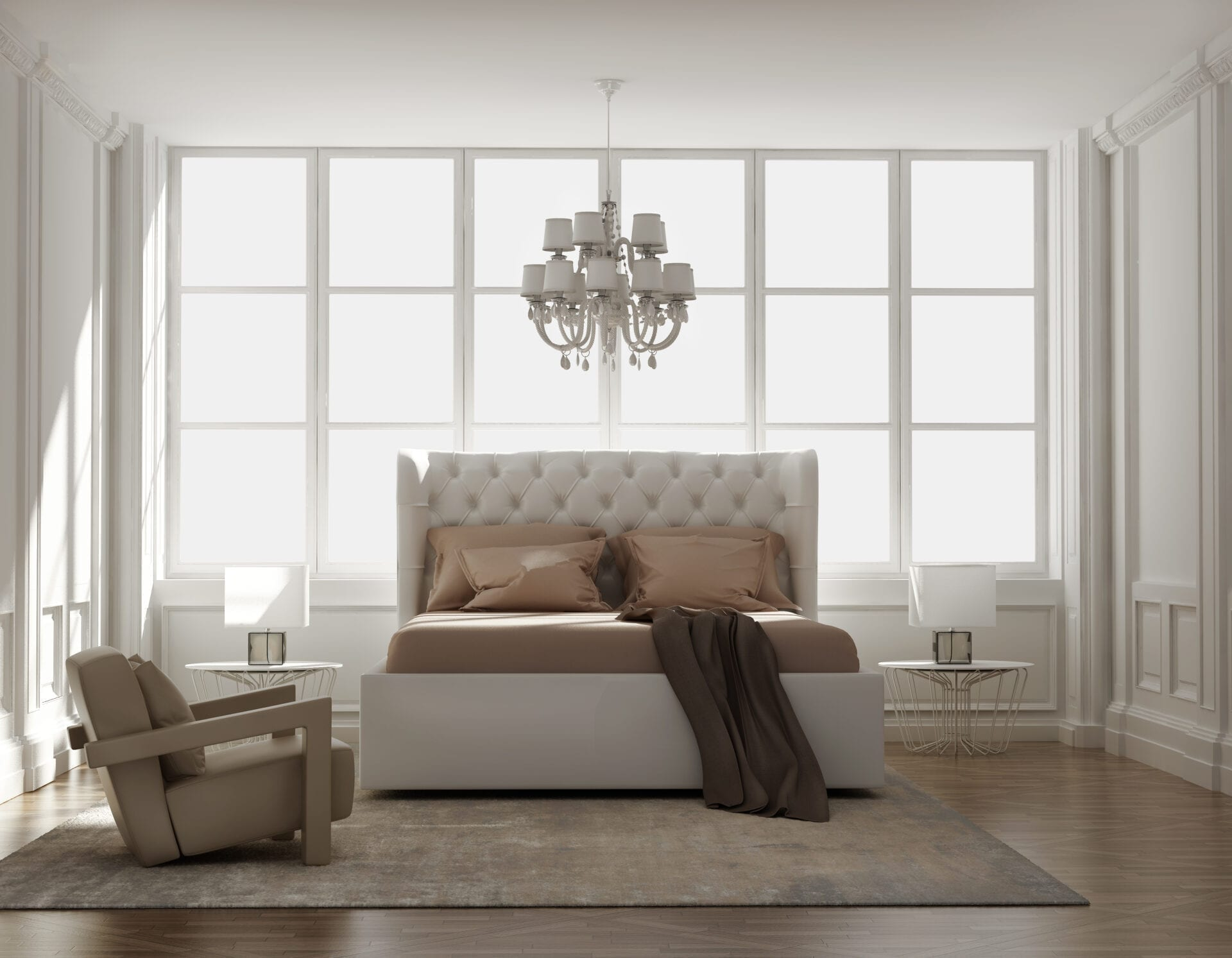 Chic Wall mounted upholstered, luxury headboard with custom upholstered wall panels - Custom luxury, upholstered beds with high end, bedroom textiles   Blend Home Furnishings