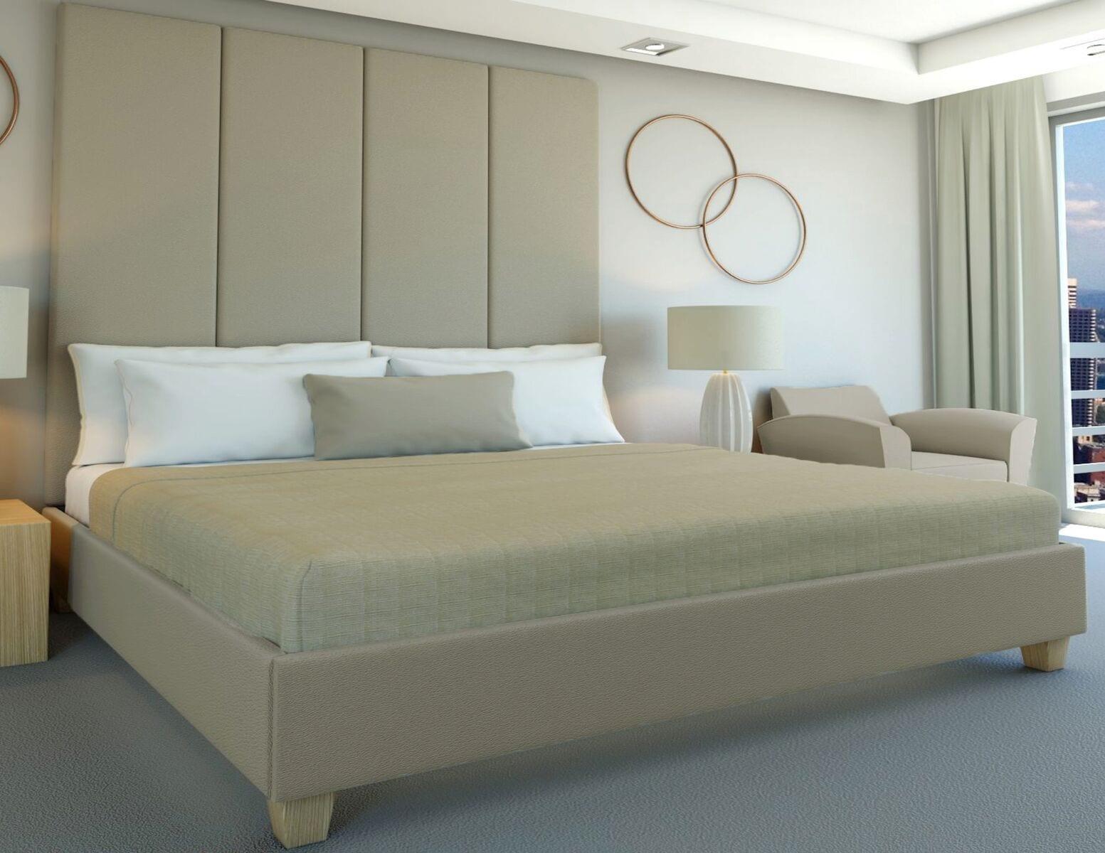Edge Hunt - Wall mounted upholstered, luxury headboard with custom upholstered wall panels - Custom luxury, upholstered beds with high end, bedroom textiles | Blend Home Furnishings