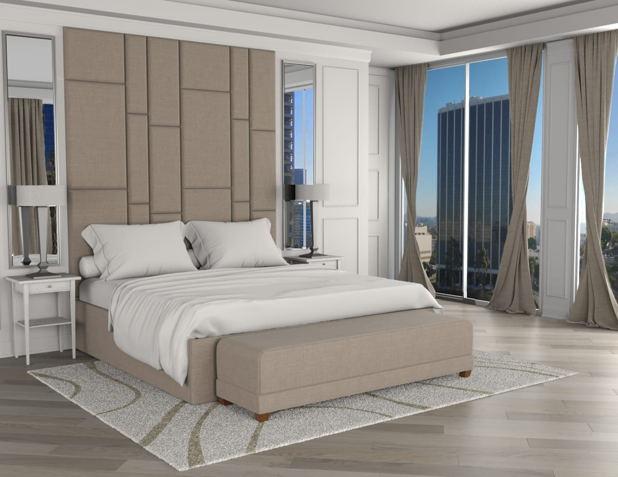 Mondo - Wall mounted upholstered, luxury headboard with custom upholstered wall panels - Custom luxury, upholstered beds with high end, bedroom textiles | Blend Home Furnishings