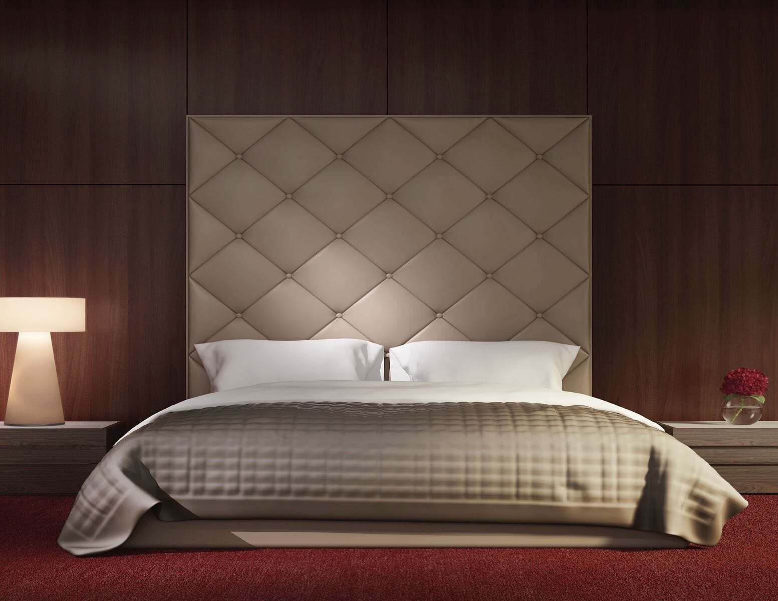 Rand - Wall mounted upholstered, luxury headboard with custom upholstered wall panels - Custom luxury, upholstered beds with high end, bedroom textiles   Blend Home Furnishings