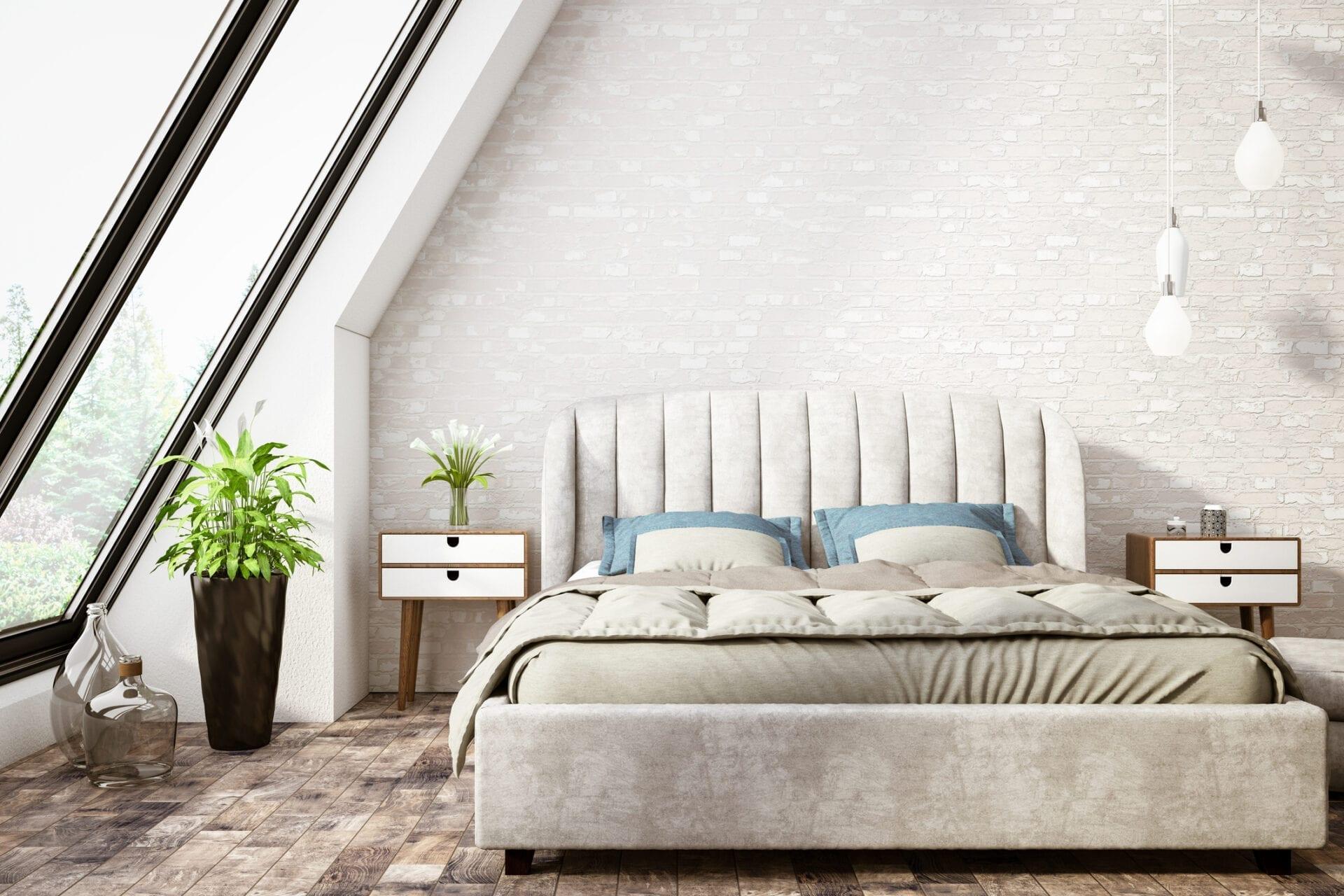 Rosalini - Wall mounted upholstered, luxury headboard with custom upholstered wall panels - Custom luxury, upholstered beds with high end, bedroom textiles   Blend Home Furnishings
