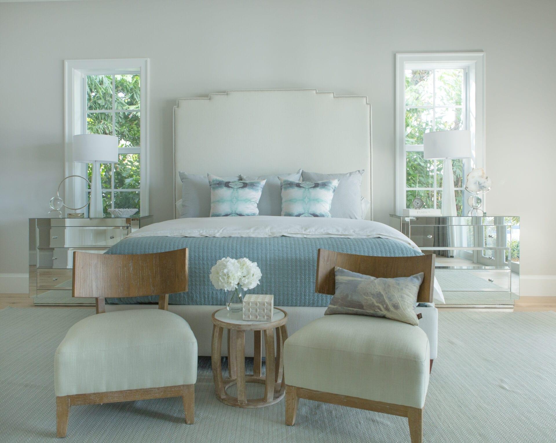 Sarasota - Wall mounted upholstered, luxury headboard with custom upholstered wall panels - Custom luxury, upholstered beds with high end, bedroom textiles   Blend Home Furnishings