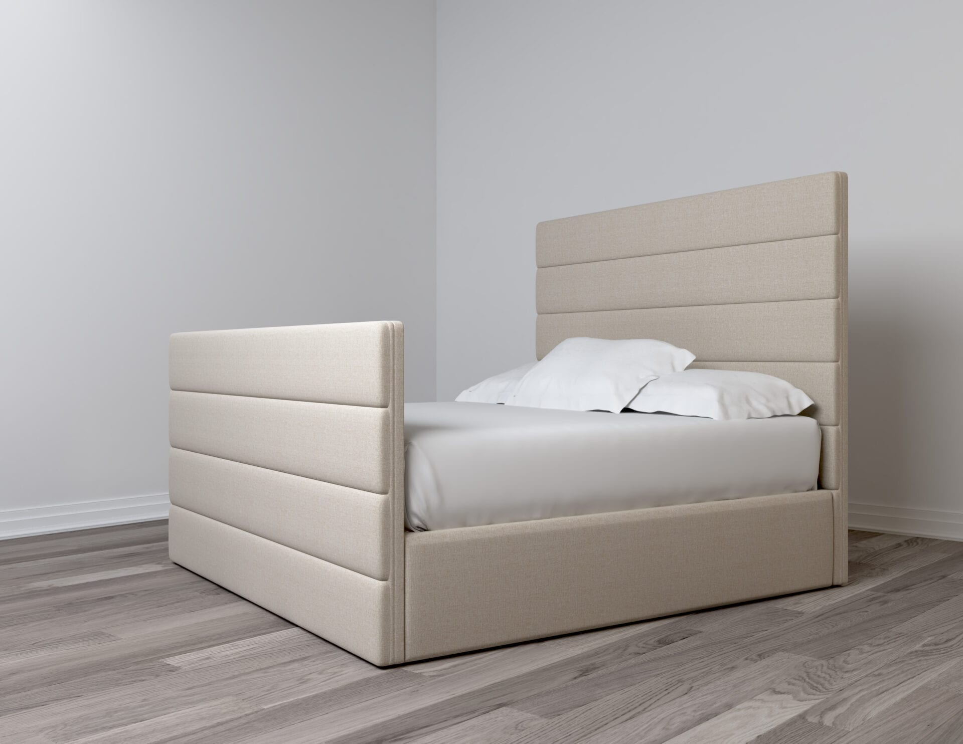 Spazio - Wall mounted upholstered, luxury headboard with custom upholstered wall panels - Custom luxury, upholstered beds with high end, bedroom textiles   Blend Home Furnishings