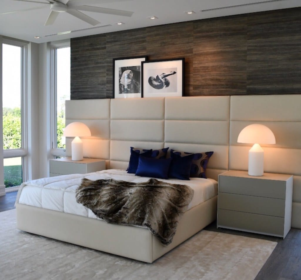Spectrum - Wall mounted upholstered headboard with custom upholstered wall panels - Custom luxury, upholstered beds with high end, bedroom textiles | Blend Home Furnishings