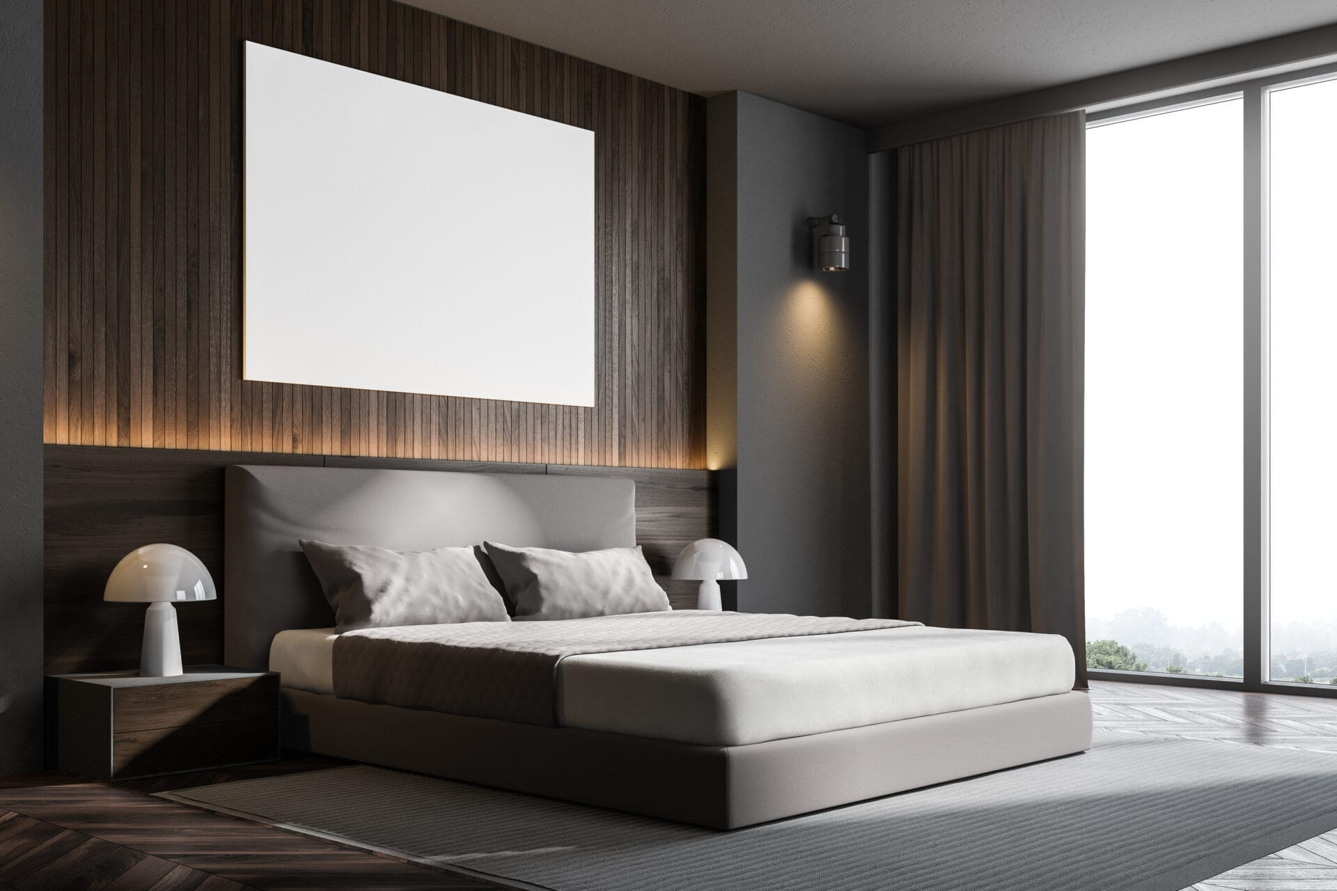 Terra - Wall mounted upholstered, luxury headboard with custom upholstered wall panels - Custom luxury, upholstered beds with high end, bedroom textiles   Blend Home Furnishings