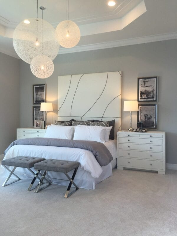 custom upholstered bed and luxury wall mounted headboards