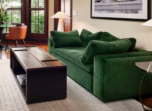 Forest Green Morgan Sofa, custom home furniture built to match your custom bedroom furniture