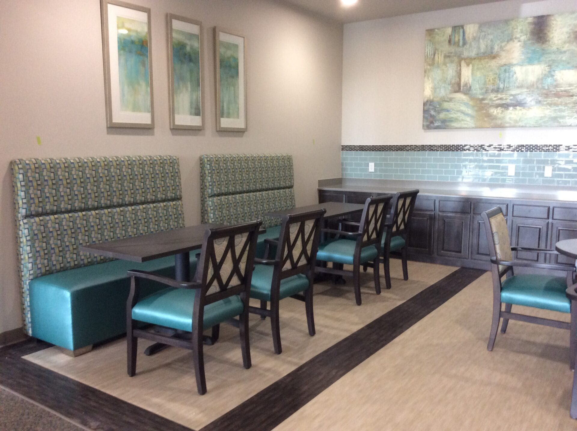 Custom Two Tone Booth and Chairs, custom home furniture built for style and quality.